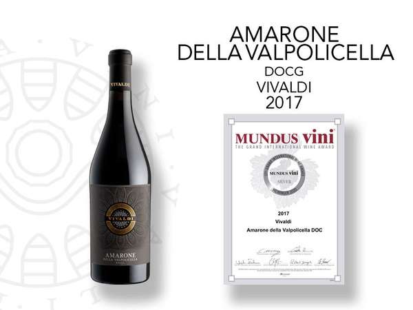 Medaglia di argento al Mundus Vini per l'Amarone Classico Vivaldi