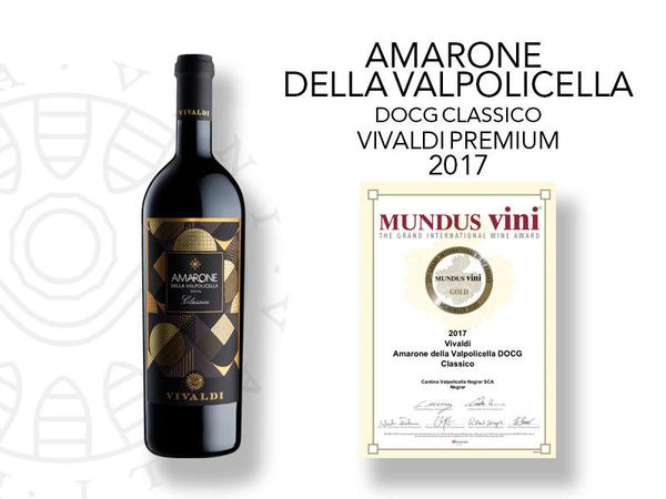 Medaglia d'oro al Mundus Vini l'Amarone Premium Vivaldi